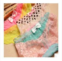 New Arrival Pop Brand Style Women Panties Openwork lace Women's Underwear Adult Women Multi Layered 5 Colors 6 Pc/Lot