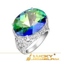 Wholesale Beautiful Blue Fire Mystical Topaz Crystal Silver Lucky Jewelry Women Rings R0069