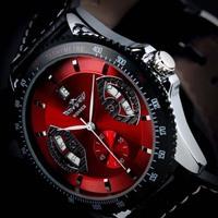 Watch Man Luxury Mechanical Hand Wind Date Mens Leather Wrist Military Watch Gif Relogio Masculinot montre femme brand