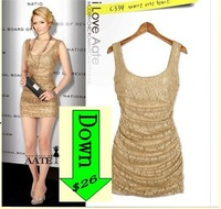 lace vest dress Wholesale 2014 new women's Spring  summer  fashion  sleeveless tight folds  thin club &sexy dress