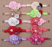 10 pieces/lot pearl elastic hair fabric rose flower baby headbands 2014 soft  infant hair band  newborn bebe hair accessories
