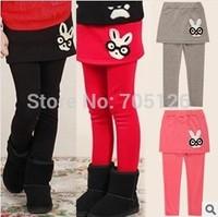 Wholesale Free Shipping Autumn Kids Girls Leggings Trousers Children's Polka Dot Culottes Babys Cute Bunny Skirt Pants 5pcs/lot