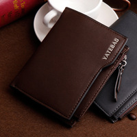 New 2014 hot sales top grade genuine leather wallet brand wallets Smoke cassette zipper short men purse free shipping
