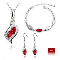 Austrian crystal jewelry crystal necklace - Angel Eyes European and American jewelry sets, necklaces+earrings+ charm bracelet