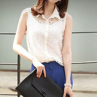 New Arrival Spring 2014 Women Fashion Sleeveless Embroidery Blouses Female Lace Floral Hollow Out Shirts Tops Clothes Hot Sale