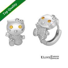 envío gratis mujeres lindas 925 plata cristal pendientes gato, animal aretes en niñas ulove r564 chapado en oro rosa(China (Mainland))