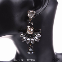 wholesale new fashion design party women crystal earrings 2014 autumn black jewelry free shipping