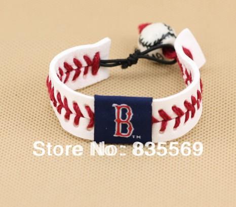 Wholesale 2000pcs/lot U.S. Major League Baseball cow leather braided bracelet porcelain beads Baseball Bracelet TS031(China (Mainland))