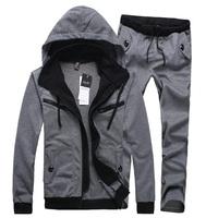 2014 spring autumn hot casual slim men clothing set hooded tracksuit sport suit for men 3 colors