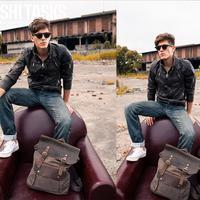 Men genuine leather canvas school bag man fashion casual all-match travel handbags