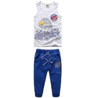 Fashion Sleeveless Tops + Shorts Boy Sport Clothing Suit Size 110-150 cm Casual Letter Print Design Children Summer Set