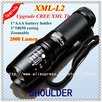 Upgrade High power UltraFire CREE XML-T6 L2 2000 LM torch light Zoomable Waterproof Fashion Handy Convenient LED Flashlight