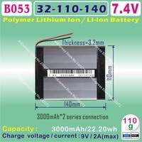 [B053] 7.4V,3000mAH,[36110135] PLIB ( polymer lithium ion battery ) Li-ion battery  for tablet pc,GPS,E-BOOK;MP4;POWER BANK;MP3