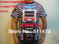 Men and women Cute new 2014 Italian hiphop giv mens stripe rober machine mens  t shirt cotton tee free shipping