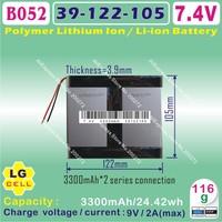 [B052] 7.4V,3300mAH, [39105122] PLIB ( polymer lithium ion / Li-ion battery / LG cell ) for tablet pc,power bank,cell phone,cube