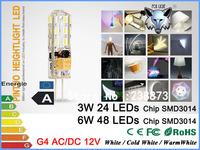 ZK12 AC DC 12V 24/48 SMD3014 3W/6W LED G4 light lamp bulb 30W/60W halogen lamp 360 degree beam LED bulb 2pcs/lot Dimmable