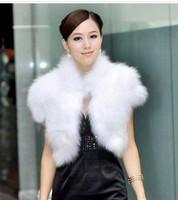Best Quality Faux Fur Short Sleeve Jacket Womens Vest Free Size  Coat Short Design Waistcoat Plus Size Overcoat White Black Blue