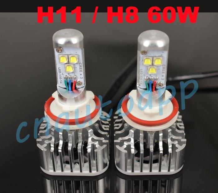 H11 / H8 High Power 60W LED Light Car Headlight LED Lamp Auto LED Lighting System Foglight - 6000k (30W X 2PCS)(China (Mainland))