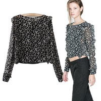 2014  Women European And American Style Floral Print Flounced Chiffon Long-Sleeved Blouse Shirt Ladies Crop Tops