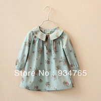 new 2014 girl shirt Small child summer female  fashion 3D printing shirt one-piece dress peter pan collar ribbon
