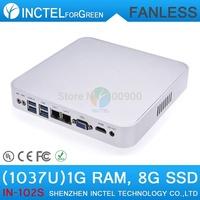 Ultra thin aluminum fanless 1037u 1G RAM 8G SSD mini pc linux hdmi