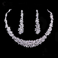 A017-2 Pearls Silver Plated Crystal Choker Necklace earrings Jewelry Set For Wedding Evening Party B20