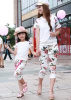 Fashion New Spring 2014 Flower Set Family Clothes Female Children Twinset Baby Paillette Set Child Size One Set