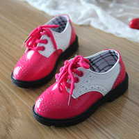 New 2014 Shoes Children Girl Boy Black / Red / Blue PU Leather Kids Flats Martin Boots Single Shoes Princess Casual  Daily wear