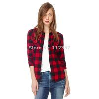 FS505 Good Quality Medium-long Long-sleeve Plaid Classic Autumn 100% Cotton Turn-down Collar Slim Blouse