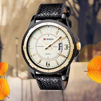 Fashion Casual Curren Brand Unisex Round Dial Analog Quartz gold Wrist Watch For Men & Women with Calendar Leather Strap Watches