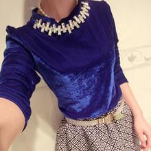 2014 spring/autumn women's top elegant gold velvet rhinestone basic shirt long-sleeve T-shirt female free shipping(China (Mainland))