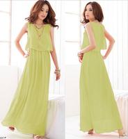 Plus Size better Quality summer Spring women Clothing Chiffon Long dresses girls Maxi beach dress sleeveless uwc130
