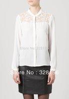 Promotion! 2014 Women Shirt Embroidery Lace Chiffon leasure blouses long sleeve size 34 black, white Free shipping