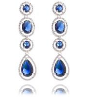 Top Quality Zirconia Earrings My Mona Lisa Blue CZ stones Cluster Drop Earring (Yashow 83832B) FREE SHIPPING