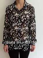 2014 Autumn Women Shirt Chiffon Blouse Blusas Renda size XS-L