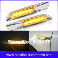 Amber LED Chrome Finish Side Marker Lights Fit for BMW E60 E61 E81 E82 E83 E87 E88 E90 E91 F10