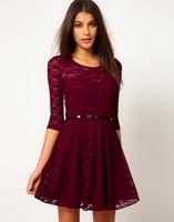 Dress+Belt Set 2014 New  women winter dress Pleated lace girl dresses Casual O-neck dresses fashion Quality uwc148