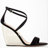 new 2013 women's shoes brief fashion wedges sandals open toe women's with high-heeled shoes
