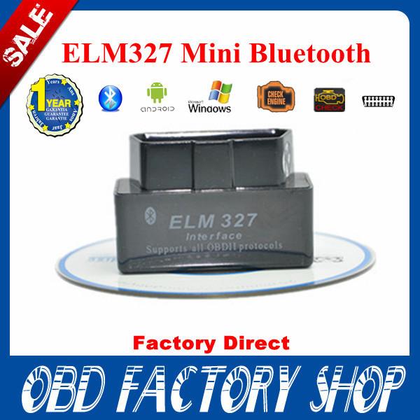 100% Factory Price2014 New SUPER MINI ELM327 Bluetooth OBD2 V2.1 Black Smart Car Diagnostic Interface ELM 327 Wireless Scan Tool(China (Mainland))