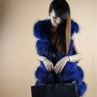 2014 fur female medium-long o-neck fur raccoon fur vest outerwear women fluffy real raccoon fur vest long strip TP3