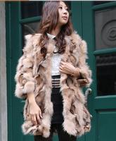 2014 new winter ladies100% real natural fox fur coat outerwear medium-long O neck fox leg fur patchwork  Y9P5