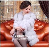 Fox fur coat medium-long 2014 full leather real natural fox fur coat strips customized Y9P1