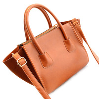 LUCKY ORANGE Handbag Stylish PU Leather Zip Dual Function Bag Brown Shoulder Bags Tote Bag Women Free Shipping New 2014 Fashion