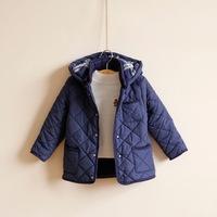 High quality children outerwear handsome boys coat with plaid design kids hooded parkas plus velvet cotton-padded jacket