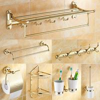 2014 promotion real freeshipping orange fashion zirconocene gold towel rack rod antique copper bathroom hardware accessories set