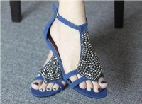 2014sandals rhinestone flat heel shoes comfortable female shoes