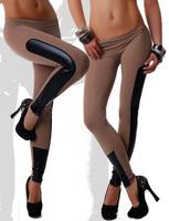 2014 Newest Women's Milk Silk Patchwork Black Faux Leather Stretch Leggings Pants A337