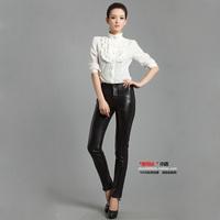 Free shipping 2014 genuine leather pants women's trousers tight trousers pipkin sheepskin pencil pants skinny pants