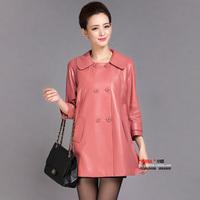 Spring and autumn o-neck slim genuine sheepskin leather clothing women's trench medium-long single leather clothing