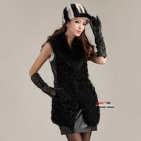 Free shipping 2014 spring fur vest female medium-long genuine leather sheepskin fur coat vest